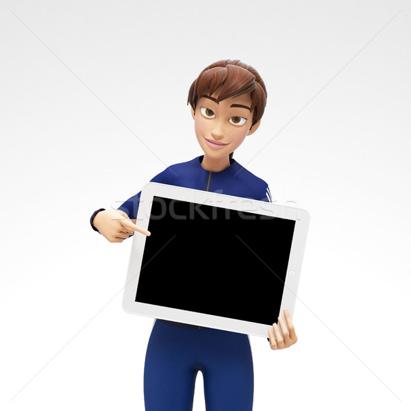 Tablet Device Mockup With Blank Screen Held by Smiling and Happy Jenny Stock photo © Loud-Mango