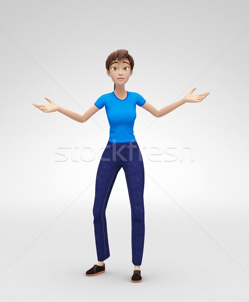 Surprised Jenny Say So What - 3D Character - Appears Lost and Discouraged Stock photo © Loud-Mango