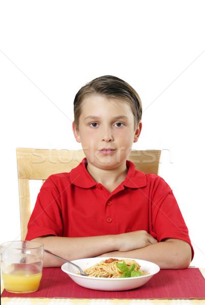 Kind vergadering tafel tabel klaar eten Stockfoto © lovleah