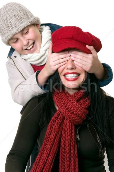 Dziecko gry odgadnąć dorośli oczy Zdjęcia stock © lovleah