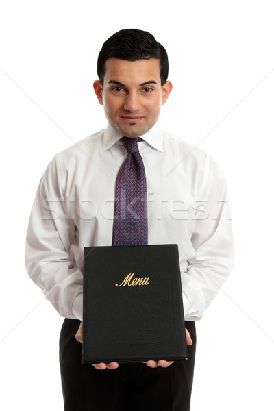 Business owner or waiter presenting a menu folder Stock photo © lovleah