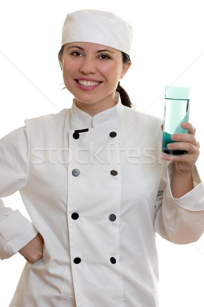 Küchenchef weiblichen Koch groß Glas Stock foto © lovleah