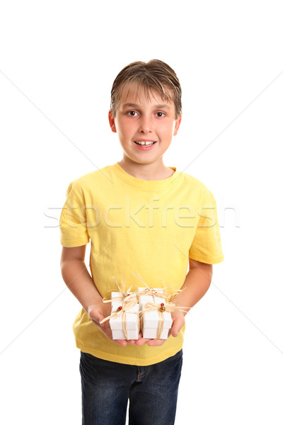 Child with many presents Stock photo © lovleah