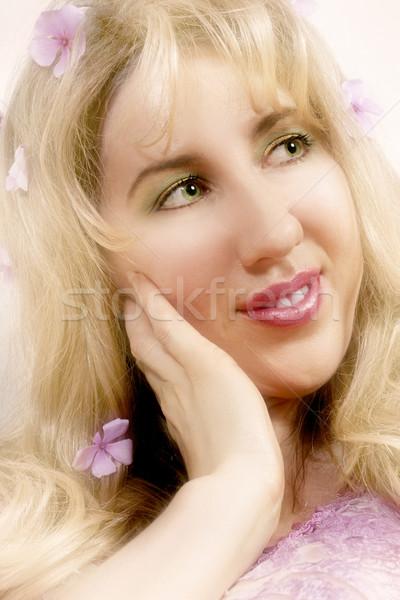 Vrouw mooie vrouw bloem bruiloft groene Stockfoto © lovleah