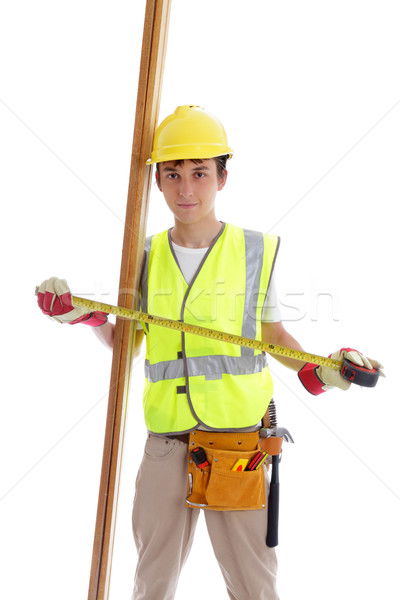 Apprenti constructeur charpentier mètre à ruban pièces Photo stock © lovleah