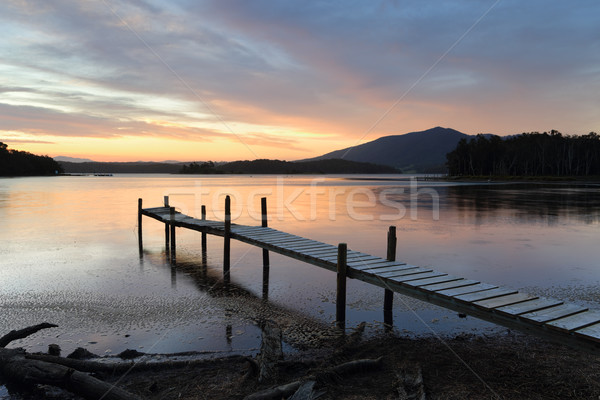 Little Timber Jetty on Wallaga Lake at Sunset Stock photo © lovleah