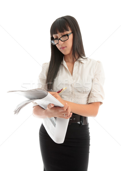 Iş kadını okuma finansal haber işkadını gazete Stok fotoğraf © lovleah