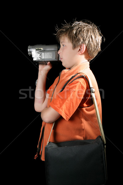 Child using a home movie video camera Stock photo © lovleah