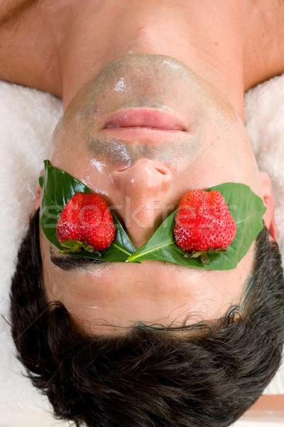 Fruto ácido máscara homem salão de beleza Foto stock © lovleah