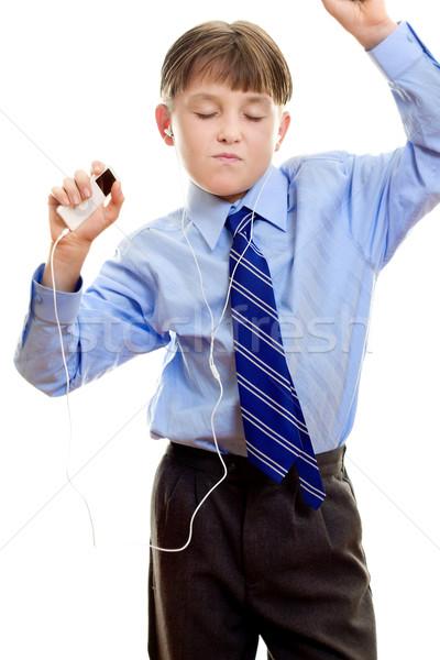Estudante portátil music player menino música jogador Foto stock © lovleah