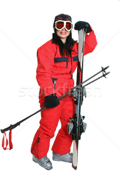 Female skier in red ski suit Stock photo © lovleah
