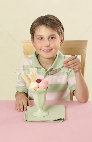 Child with frozen ice cream summer dessert Stock photo © lovleah