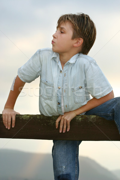 Boy climbing over farm fence Stock photo © lovleah