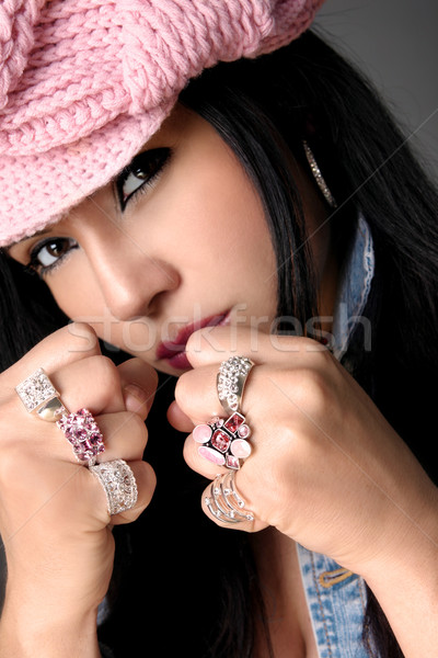 Female Beauty Fistful of Bejewelled rings Stock photo © lovleah
