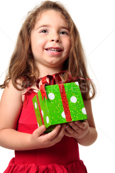 Excited girl holding a present Stock photo © lovleah