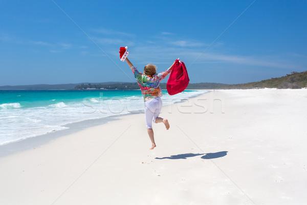 Foto stock: Celebrar · natal · Austrália · feminino · saltando · alegria