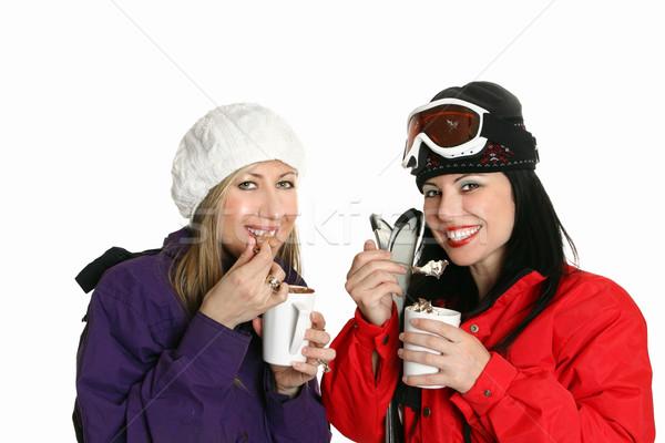 Winter hot dranken twee meisjes genieten Stockfoto © lovleah