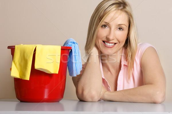 Feminino trabalhos domésticos limpar para cima imagem mulher Foto stock © lovleah