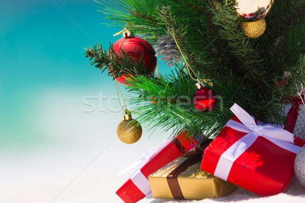 Weihnachten Strand Paradies Weihnachtsbaum schönen weiß Stock foto © lovleah