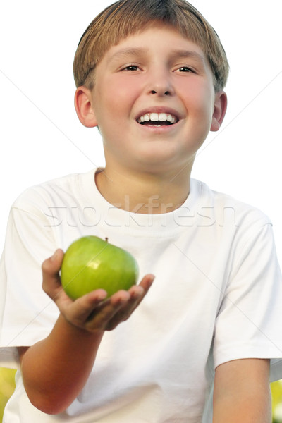 Healthy life - boy with apple in his palm Stock photo © lovleah