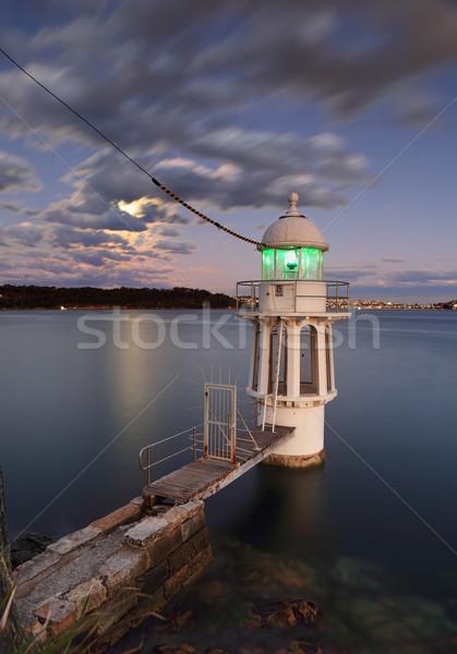 Punto faro Sydney puerto anochecer la exposición a largo Foto stock © lovleah