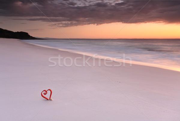 Madrugada praia amor Austrália macio Foto stock © lovleah