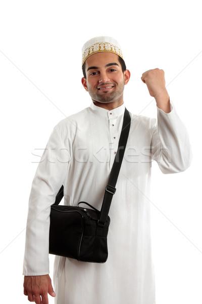 Foto stock: étnico · homem · vitória · punho · sucesso · Árabe