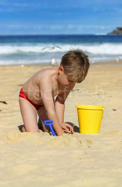 Gyermek játszik tengerpart kicsi fiú vödör Stock fotó © lovleah