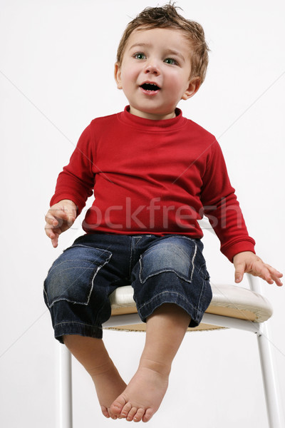 Toddler sitting on a stool Stock photo © lovleah