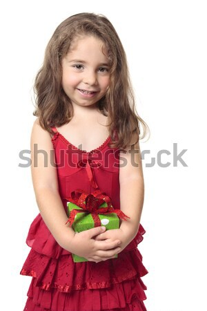 Pretty girl holding a present Stock photo © lovleah