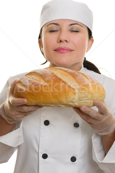 Chef Baker with Fresh Baked Bread Stock photo © lovleah