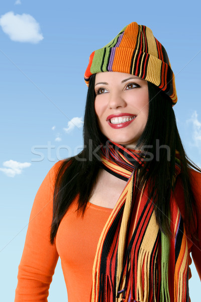 Cheerful optimistic woman in winter scarf and hat Stock photo © lovleah