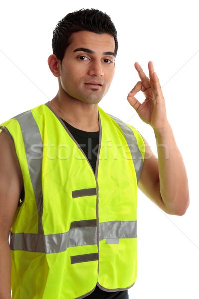 положительный мастер на все руки строителя этнических синих воротничков Сток-фото © lovleah