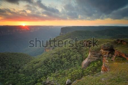 закат синий гор долины солнце Запад Сток-фото © lovleah