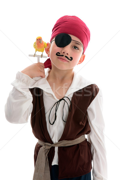 Pirate with pet bird Stock photo © lovleah