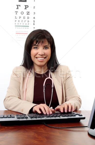 Médico optometrista secretária sessão Foto stock © lovleah
