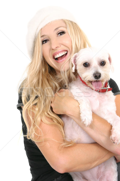 Beatiful laughing girl with cute puppy dog Stock photo © lovleah