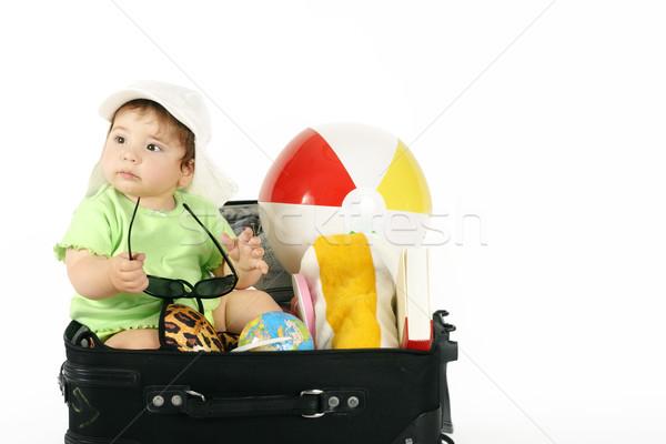 Nyár ünnep baba ül táska tengerpart Stock fotó © lovleah