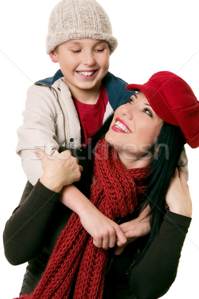 Amusement maman heureusement souriant mère fils Photo stock © lovleah
