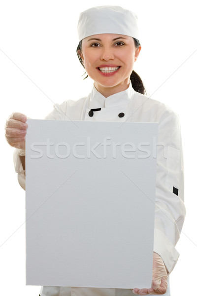 Stock photo: Chef with Sign