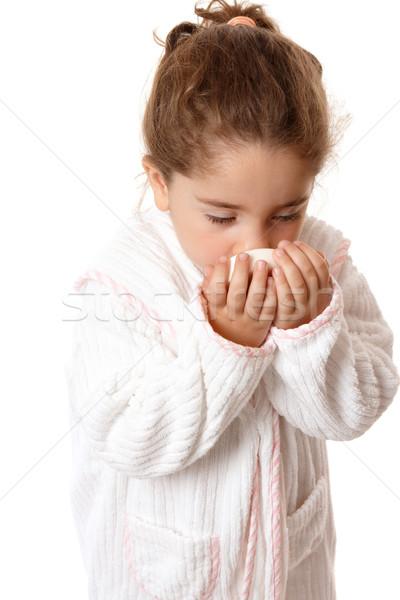 Dziewczynka pachnący mydło młoda dziewczyna kąpielowy szlafrok dziewczyna Zdjęcia stock © lovleah