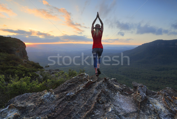 Female fitness stretch to the sky mountain top valley scene Stock photo © lovleah