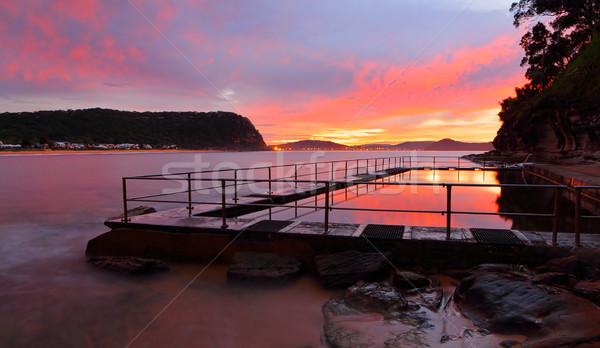 Pearl Beach Ocean Pool sunrise - Australia Stock photo © lovleah