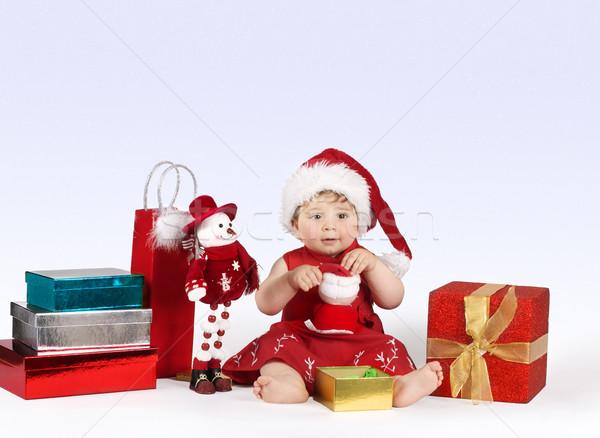 Stock fotó: Karácsony · csodaország · csinos · kislány · játékok · ajándékok