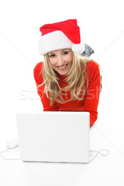 Natal compras menina usando laptop computador Foto stock © lovleah