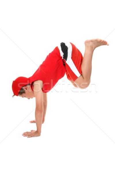 Jongen handen kinderen leuk Rood beweging Stockfoto © lovleah