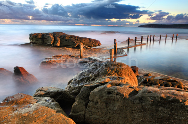 Dawn coastline and Mahon Rock Pool Stock photo © lovleah