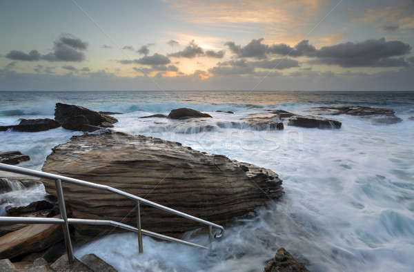 Giles Baths Coogee Rock Pool Sunrise Seascape Stock photo © lovleah