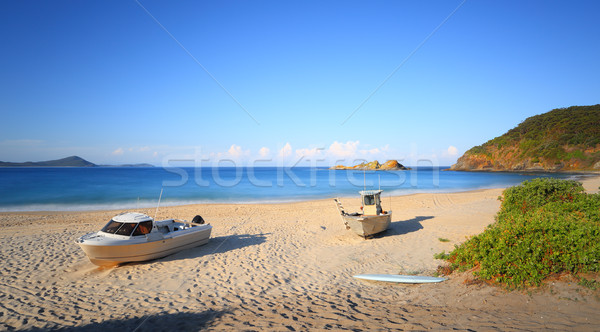 Foto stock: Barco · playa · sello · rocas · Australia · dos