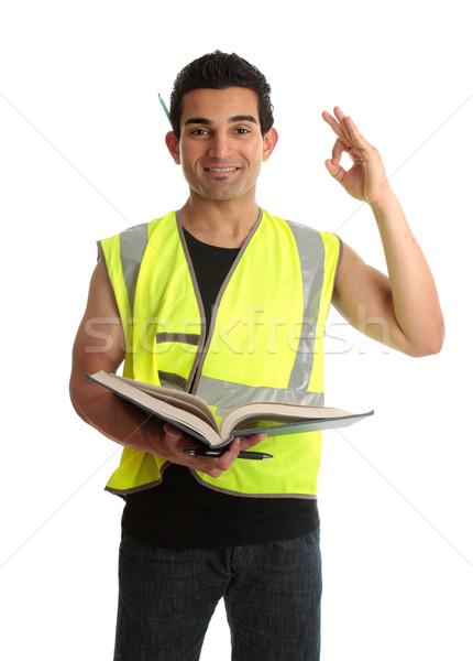 építész gyakornok diák építőmunkás kereskedő tart Stock fotó © lovleah